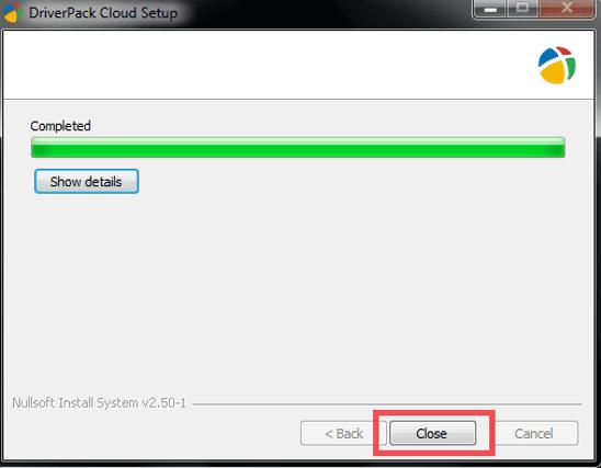 завершение установки DriverPack Cloud New